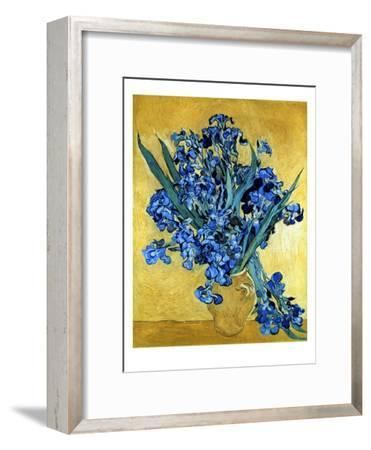 Vase of Irises Against a Yellow Background, c.1890-Vincent van Gogh-Framed Giclee Print