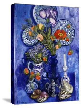 Blue Still Life with Poppies and Shells-Isy Ochoa-Stretched Canvas Print
