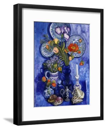 Blue Still Life with Poppies and Shells-Isy Ochoa-Framed Giclee Print