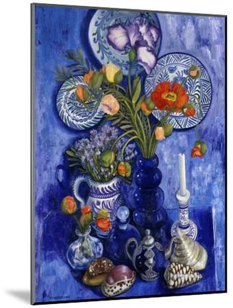 Blue Still Life with Poppies and Shells-Isy Ochoa-Mounted Giclee Print