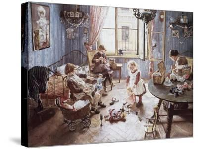 Nursery-Fritz von Uhde-Stretched Canvas Print