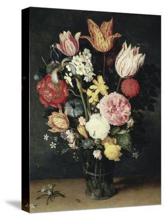 Tulips, Roses and Other Flowers in a Glass-Balthasar van der Ast-Stretched Canvas Print