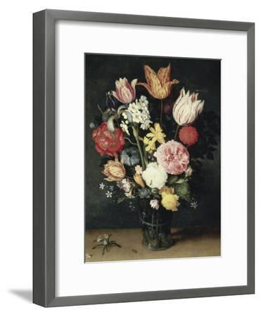 Tulips, Roses and Other Flowers in a Glass-Balthasar van der Ast-Framed Giclee Print