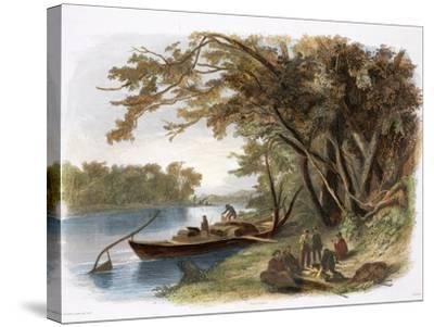 Encampment of the Travellers on the Missouri-Karl Bodmer-Stretched Canvas Print