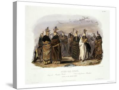 Ptihn-Tak-Ochata, Dance of the Mandan Women-Karl Bodmer-Stretched Canvas Print