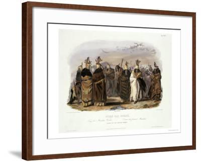 Ptihn-Tak-Ochata, Dance of the Mandan Women-Karl Bodmer-Framed Giclee Print