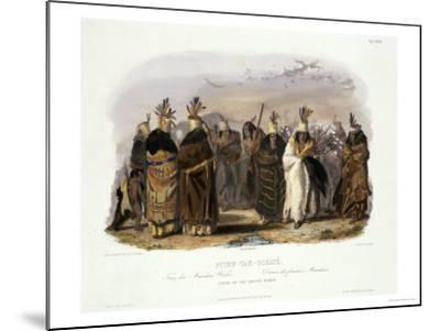 Ptihn-Tak-Ochata, Dance of the Mandan Women-Karl Bodmer-Mounted Giclee Print