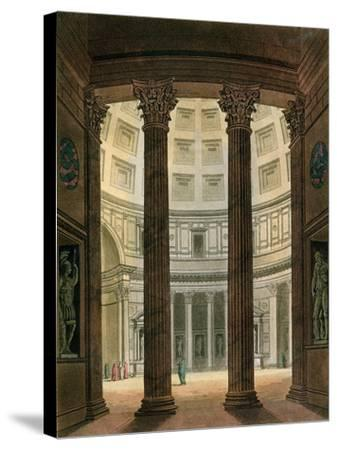 "Interior of the Pantheon, Rome, from ""Le Costume Ancien Et Moderne""- Fumagalli-Stretched Canvas Print"