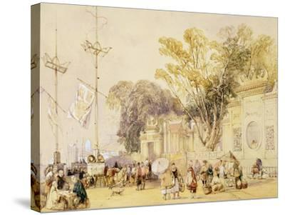 """Village Square in the Bay of Hong Kong, Plate 5 from """"Sketches of China""""-Auguste Borget-Stretched Canvas Print"""