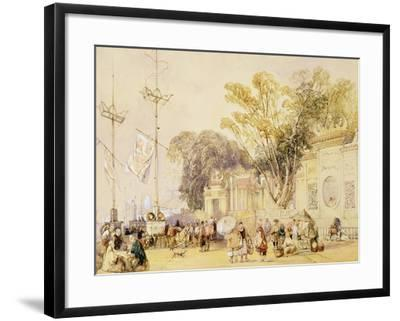 """Village Square in the Bay of Hong Kong, Plate 5 from """"Sketches of China""""-Auguste Borget-Framed Giclee Print"""