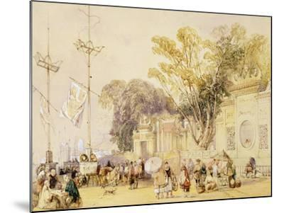 """Village Square in the Bay of Hong Kong, Plate 5 from """"Sketches of China""""-Auguste Borget-Mounted Giclee Print"""
