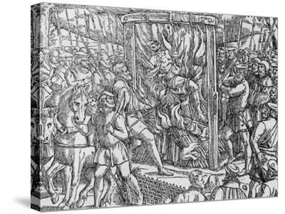 """The Martyrdom of Sir John Oldcastle, Lord Cobham from """"Acts and Monuments"""" by John Foxe 1563--Stretched Canvas Print"""