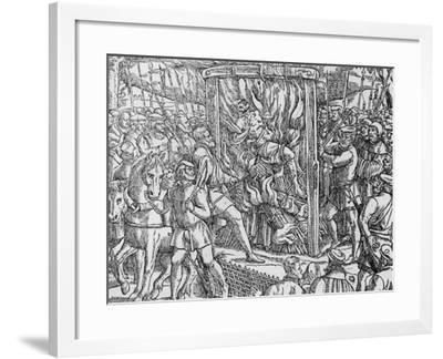 """The Martyrdom of Sir John Oldcastle, Lord Cobham from """"Acts and Monuments"""" by John Foxe 1563--Framed Giclee Print"""