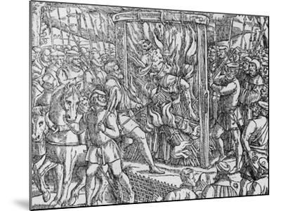 """The Martyrdom of Sir John Oldcastle, Lord Cobham from """"Acts and Monuments"""" by John Foxe 1563--Mounted Giclee Print"""