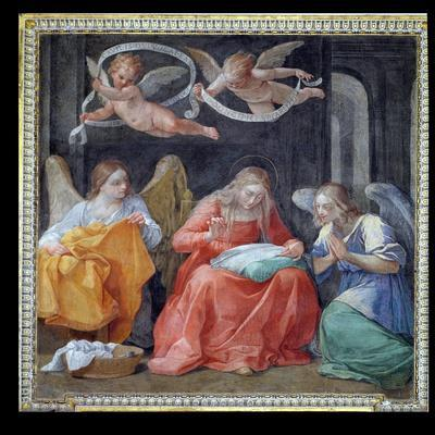 """The Virgin Sewing, from the """"Cappella Dell'Annunciata"""" 1610-Guido Reni-Stretched Canvas Print"""