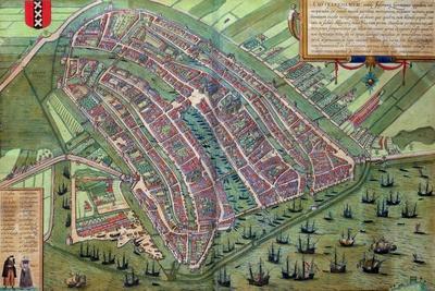 "Map of Amsterdam, from ""Civitates Orbis Terrarum"" by Georg Braun and Frans Hogenburg, circa 1572-Joris Hoefnagel-Stretched Canvas Print"