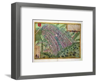 "Map of Amsterdam, from ""Civitates Orbis Terrarum"" by Georg Braun and Frans Hogenburg, circa 1572-Joris Hoefnagel-Framed Premium Giclee Print"