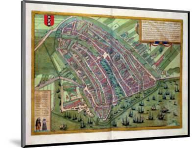"Map of Amsterdam, from ""Civitates Orbis Terrarum"" by Georg Braun and Frans Hogenburg, circa 1572-Joris Hoefnagel-Mounted Premium Giclee Print"