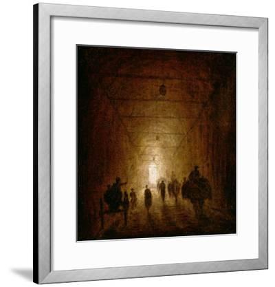 Riders and Pedestrians Passing Through an Arched Passage-Hubert Robert-Framed Giclee Print