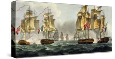 Capture of La Pomone, L'Engageante and La Babet, April 23rd 1794-Thomas Whitcombe-Stretched Canvas Print