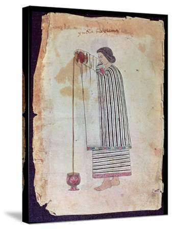 Mexican Indian Preparing Chocolate, from the Codex Tuleda, 1553--Stretched Canvas Print