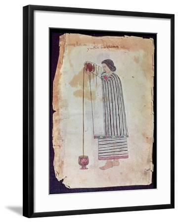 Mexican Indian Preparing Chocolate, from the Codex Tuleda, 1553--Framed Giclee Print
