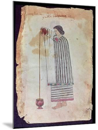 Mexican Indian Preparing Chocolate, from the Codex Tuleda, 1553--Mounted Giclee Print