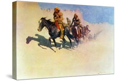 Jedediah Smith Making His Way Across the Desert from Green River to the Spanish Settlement-Frederic Sackrider Remington-Stretched Canvas Print