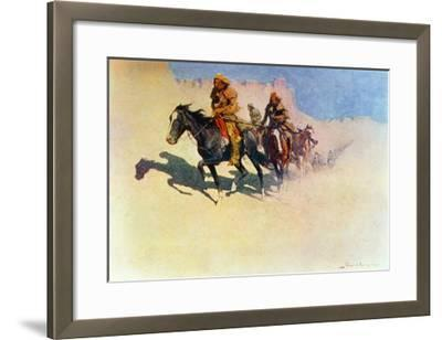 Jedediah Smith Making His Way Across the Desert from Green River to the Spanish Settlement-Frederic Sackrider Remington-Framed Giclee Print