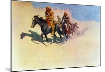 Jedediah Smith Making His Way Across the Desert from Green River to the Spanish Settlement-Frederic Sackrider Remington-Mounted Giclee Print
