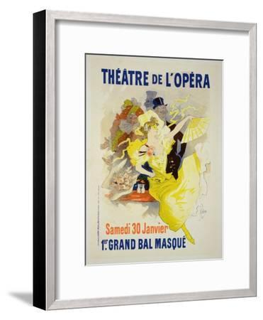 """Reproduction of a Poster Advertising the First """"Grand Bal Masque,"""" Theatre De L'Opera, Paris, 1896-Jules Ch?ret-Framed Giclee Print"""