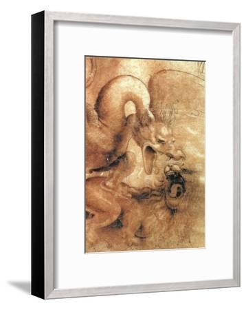 Fight Between a Dragon and a Lion, a Detail-Leonardo da Vinci-Framed Giclee Print