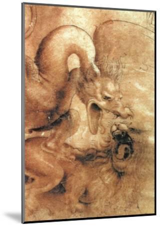 Fight Between a Dragon and a Lion, a Detail-Leonardo da Vinci-Mounted Giclee Print