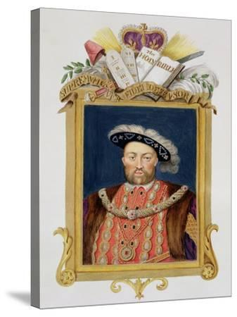 """Portrait of Henry VIII as Defender of the Faith from """"Memoirs of the Court of Queen Elizabeth""""-Sarah Countess Of Essex-Stretched Canvas Print"""