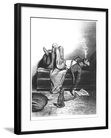 Caricature of the Romantic Writer Searching His Inspiration in the Haschisch, circa 1849--Framed Giclee Print