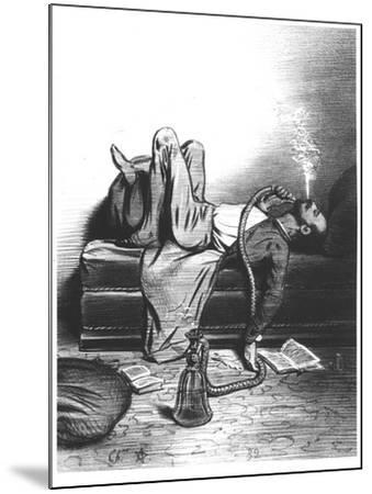 Caricature of the Romantic Writer Searching His Inspiration in the Haschisch, circa 1849--Mounted Giclee Print