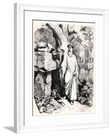 """Human Sacrifice by a Gaulish Druid, from """"Histoire De France"""" by L.P. Anquetil, 1851-Felix Philippoteaux-Framed Giclee Print"""