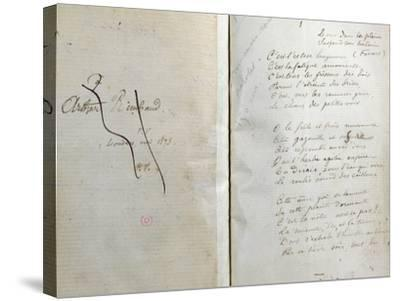 """Handwritten Pages from """"Romances Sans Paroles"""" with Crossed out Dedication to Arthur Rimbaud, 1873-Paul Verlaine-Stretched Canvas Print"""