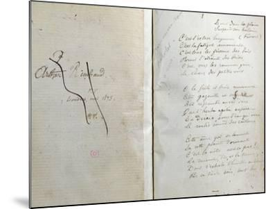 """Handwritten Pages from """"Romances Sans Paroles"""" with Crossed out Dedication to Arthur Rimbaud, 1873-Paul Verlaine-Mounted Giclee Print"""