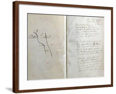 """Handwritten Pages from """"Romances Sans Paroles"""" with Crossed out Dedication to Arthur Rimbaud, 1873-Paul Verlaine-Framed Giclee Print"""