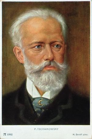Postcard of Piotr Ilyich Tchaikovsky-H. Serov-Stretched Canvas Print