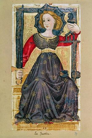 """Justice, Tarot Card from the """"Charles Vi"""" or """"Gringonneur"""" Deck--Stretched Canvas Print"""