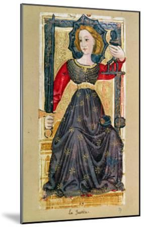 """Justice, Tarot Card from the """"Charles Vi"""" or """"Gringonneur"""" Deck--Mounted Giclee Print"""