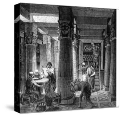 Imaginary Recreation of Ptolemy Library in Alexandria, Egypt, from Histoire Generale Des Peuples--Stretched Canvas Print