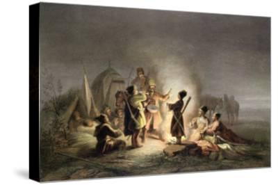 Round the Camp Fire-H. Kretzschmer-Stretched Canvas Print