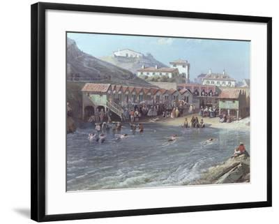 The Beginning of Sea Swimming in the Old Port of Biarritz, 1858 (Detail)  Giclee Print by Jean Jacques Alban De Lesgallery | Art com