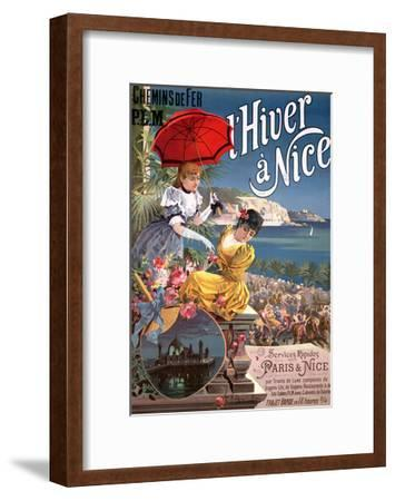 Winter in Nice, Poster Advertising P.L.M Trains-Hugo D' Alesi-Framed Giclee Print