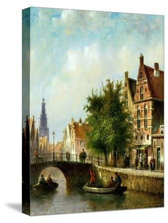 Figures on a Canal, Amsterdam-Johannes Franciscus Spohler-Stretched Canvas Print