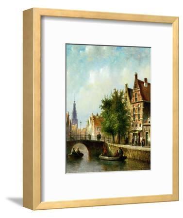 Figures on a Canal, Amsterdam-Johannes Franciscus Spohler-Framed Premium Giclee Print