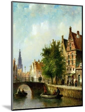 Figures on a Canal, Amsterdam-Johannes Franciscus Spohler-Mounted Premium Giclee Print